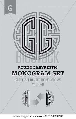 G Letter Maze. Set For The Labyrinth Logo And Monograms, Coat Of Arms, Heraldry, Abbreviation.