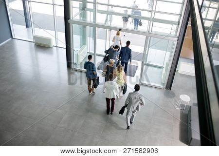 group of team business people walking from building