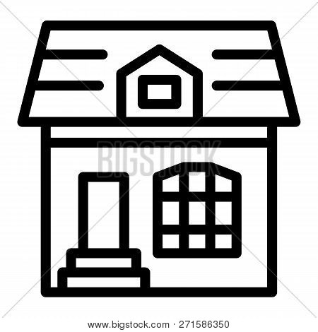 Attic Cottage Line Icon. House Vector Illustration Isolated On White. Building Outline Style Design,
