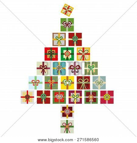 Vector Isolated Illustration Of Colorful Christmas Tree Made From Stacks Of Presents. Great For Chri