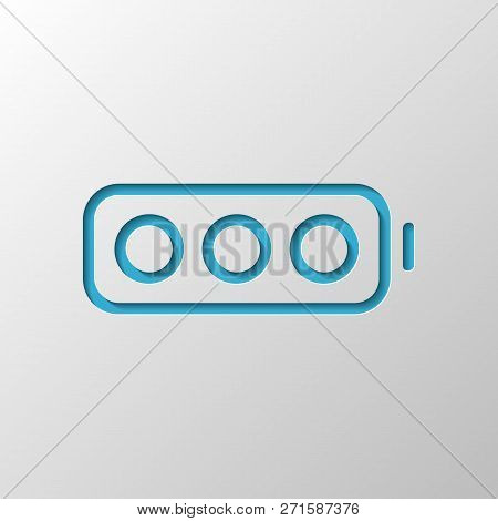 Simple Empty Battery, None Level. Paper Design. Cutted Symbol With Shadow
