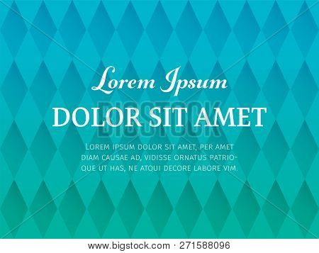 Abstract Polygonal Pattern Background Of Rhombs With Teal And Cyan Colors. Horizontal Seamless Geome