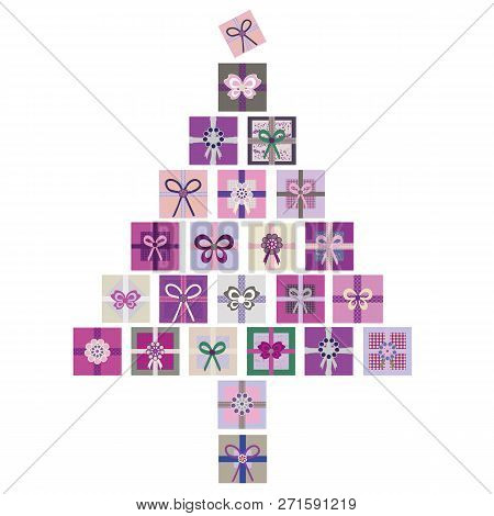 Purple, Pink And Green Vector Isolated Illustration Of Christmas Tree Made From Stacks Of Presents.