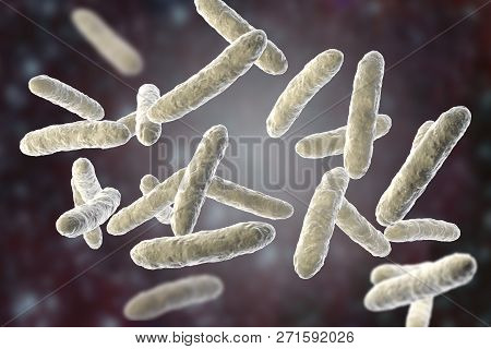 Probiotic Bacteria, Normal Intestinal Microflora, 3d Illustration. Bacteria Used As Probiotic Treatm