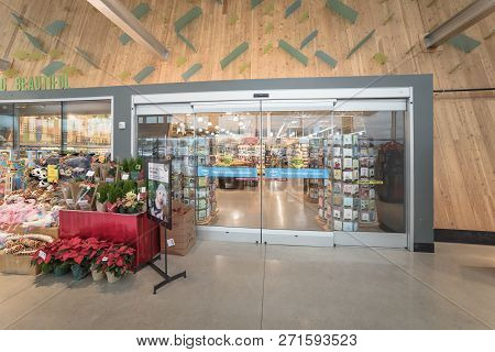 Entrance To Whole Food Upscale Grocery Store With Amazon Prime Icon