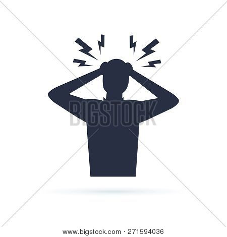 Headache glyph icon. Silhouette symbol. Anger and irritation. Frustration. Nervous tension. Aggression. Occupational stress. Emotional stress symptom. Negative space. Vector isolated illustration poster