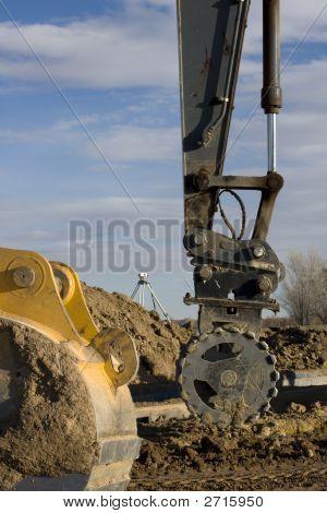 Road Construction - Excavator Arm With Roller, Backhoe Scoop, Survey Equipment