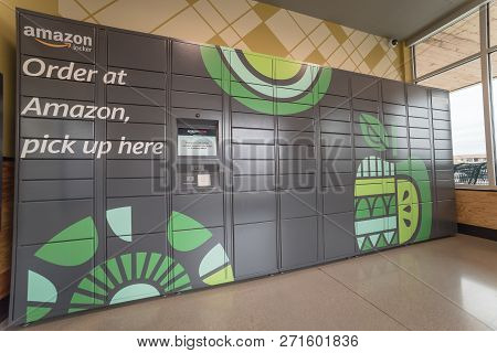 Side View Of Amazon Locker Self-service Parcel Delivery, Pickup At Whole Foods Store
