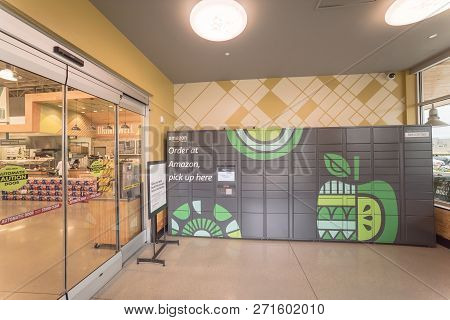 Amazon Locker Self-service Parcel Delivery, Pickup At Whole Foods Store Entrance