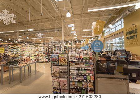 Amazon Prime Logo Inside Whole Foods Store Near Dallas, Texas, Usa