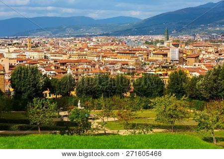 Aerial View Of Historical Medieval Buildings In Old Town Of Florence, Italy And Boboli Gardens