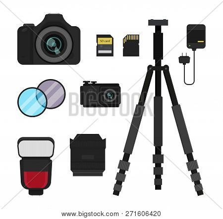 Set Of Photo Equipment. Dslr Camera, Action Camera, Flash, Tripod, Lens And Filters, Battery Charger