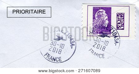 GOMEL, BELARUS, 30 OCTOBER 2018, Stamp printed in France shows image of the French embodiment of liberte and fraternite, circa 2018.