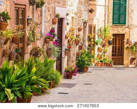 Idyllic Street In Valldemossa Village On Majorca, Spain Balearic Islands