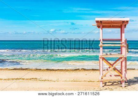 Beach Of Bay Of Alcudia On Majorca Island, Spain Mediterranean Sea