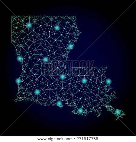 Glossy Polygonal Mesh Map Of Louisiana State. Abstract Mesh Lines, Triangles, Light Spots And Points