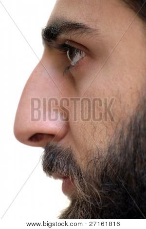 Bearded man profile portrait closeup