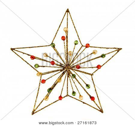 Christmas star decoration isolated on white background