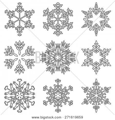 Collection of artistic icy abstract crystal snow flakes isolated on background as winter december decoration group or collection. Ice or frost beautiful star ornament silhouette or season art