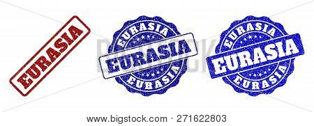 Eurasia Grunge Stamp Seals In Red And Blue Colors. Vector Eurasia Imprints With Grunge Surface. Grap