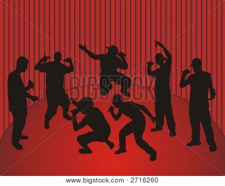 Rappers And Red Background