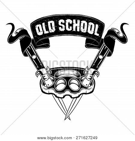 Vector Image Of Brass Knuckles And Two Switchblades. Street Weapon. Punks. Inscription On A Tape - O