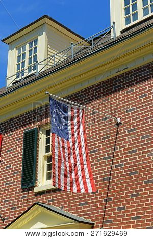 Historic Us Flag On Concord Museum In Historic Town Center Concord, Massachusetts, Usa.