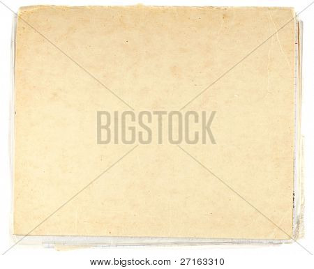 Old grungy cardboard isolated on white