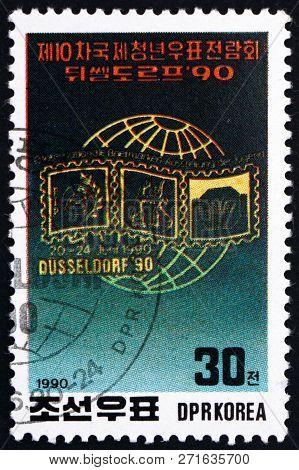 North Korea - Circa 1990: A Stamp Printed In North Korea Dedicated To 10th International Youth Phila