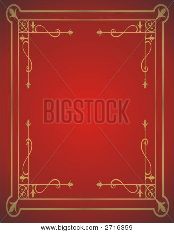 Golden Frame On Red Background