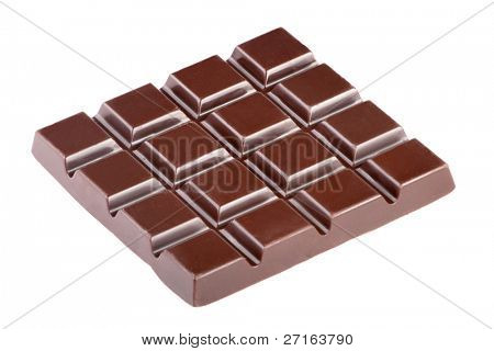 Milk chocolate bar isolated on white background