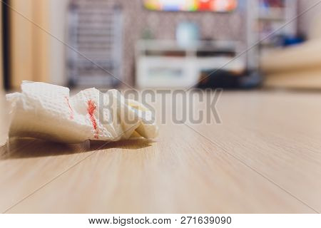 Blood Of Woman With Period, Period Of Woman, Menstrual Blood On Sanitary Pad And Wooden Background.
