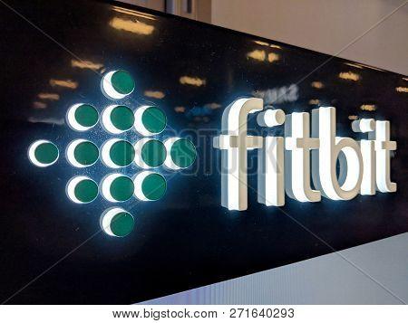 Honolulu - September 7, 2018: Fitbit Logo On Wall In Honolulu Best Buy Store. Fitbit, Inc. Is An Ame