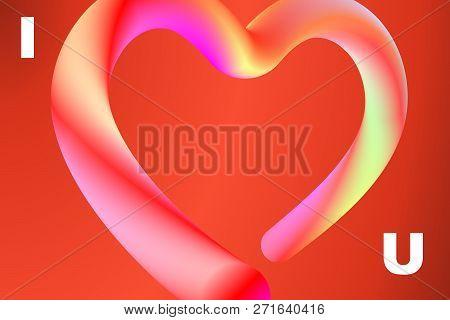 Bright Lettering I Love U With Heart Shape. Modern Minimal Multicolor Vibrant Liquid Fluid Gradient