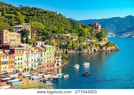 Beautiful Sea Coast With Colorful Houses In Portofino, Italy. Summer Landscape