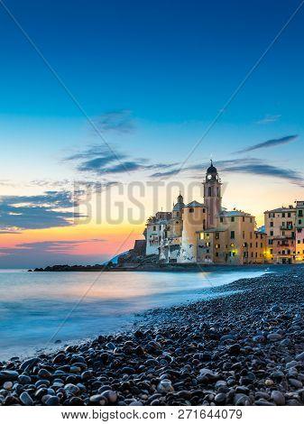 Scenic Mediterranean Riviera Coast. Panoramic View Of Camogli Town In Liguria, Italy. Basilica Of Sa