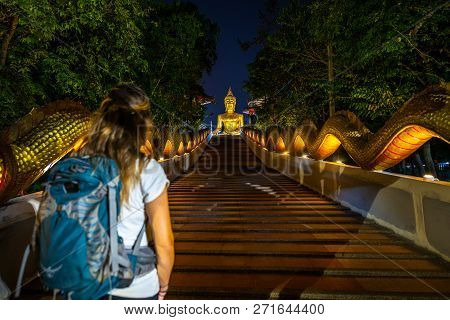 Tourist Walks Up The Dragon Staircase Towards Giant Buddha Statue Pattaya City Thailand