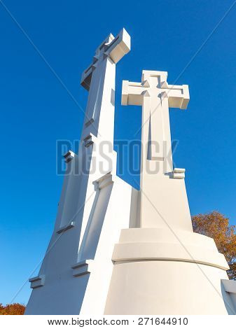 The Three Crosses Monument Overlooking Vilnius Old Town
