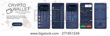 Crypto Wallet Mobile App Template. User Interface Design With A Disassembled Interface, In The Form
