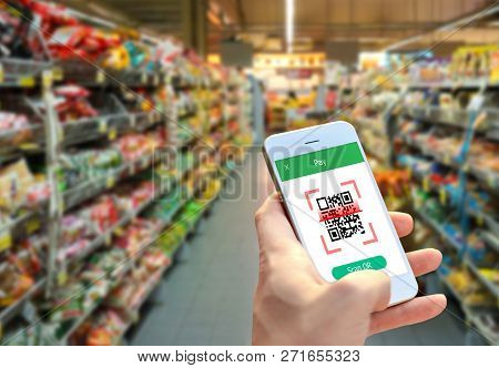 Smartphone Scanning Qr Code Payment, Smart Payment Technology, Shopping , Cashless Society Concept.