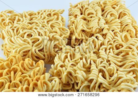 Instant Noodles Isolated / Close Up Of Raw Yellow Instant Noodles Ready For Food