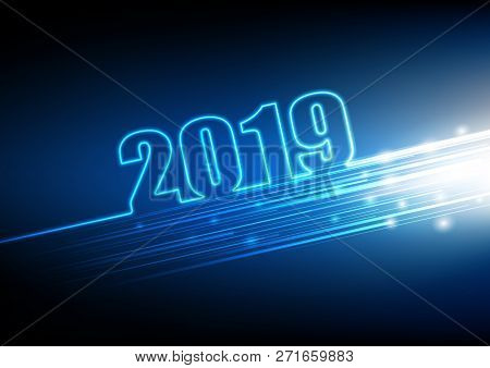 2019 Happy New Year With Abstract Futuristic Innovation Of Digital Technology Background, Vector Ill