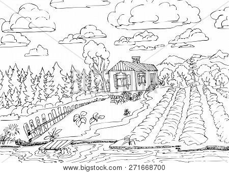 Rural Landscape With Forest And Small House. Hand Drawn Illustrations For Coloring