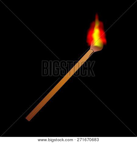 Burning Flame Head Matchstick Isolated Against A Black Background.
