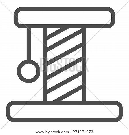 Cat Scratcher Line Icon. Pet Toy Vector Illustration Isolated On White. Kitten Scratcher Outline Sty