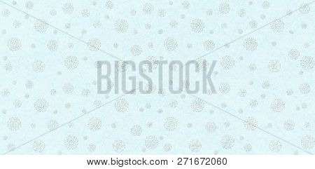 Christmas Ornament With Snowflakes On Light Blue. New Year Festive Pattern. Flat Illustration With I