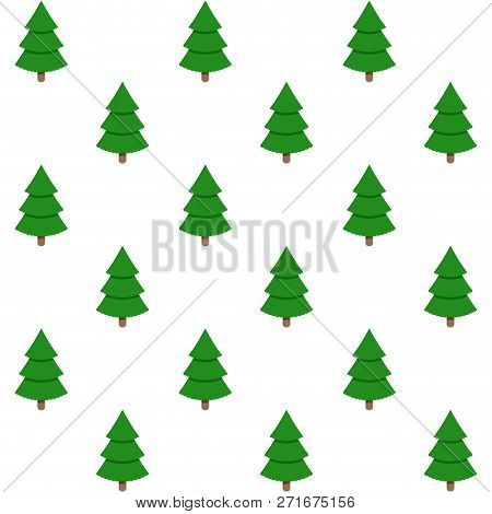 Holiday Background Seamless, Xmas Green Tree. Vector Winter Decoration Traditional Firtree Illustrat