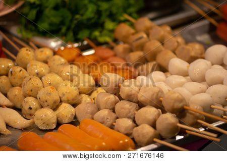 Skewers Display Thai Street Food Background Pork And Chicken Meatballs
