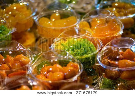 Cups Filled With Colorful Sweets Thai Street Food Background
