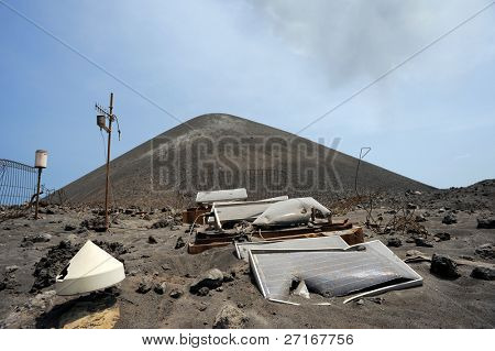 ANAK KRAKATAU, INDONESIA - 8 AUG: Violent eruptions totally destroy equipment used to read seismic activity August 8, 2009 in Anak Krakatau. The island is now approximately 350m high and grows daily.